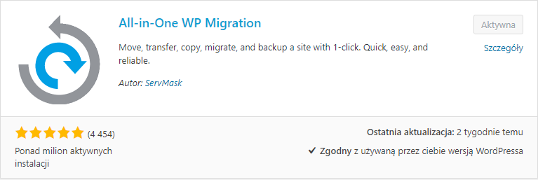 Migracja WordPress - All in one - WP Migration