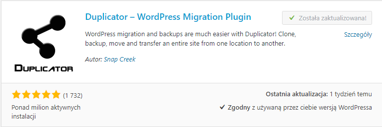 Migracja WordPress - Duplicator