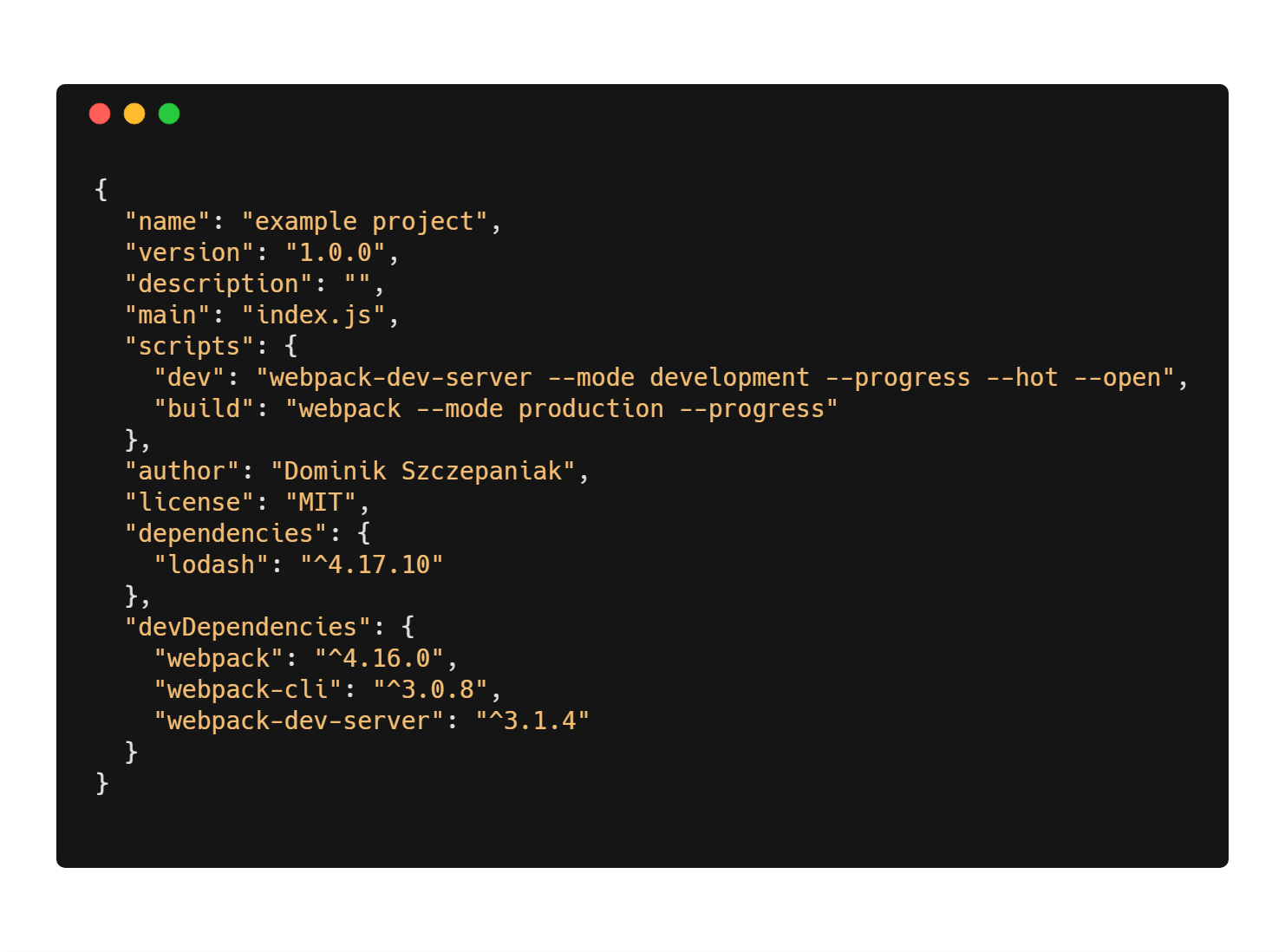 npm - package.json gotowy